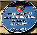 ST1067 : Freemasons blue plaque, Broad Street, Barry by Jaggery