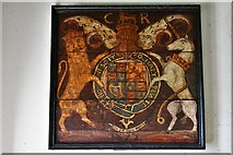 SU5846 : Dummer, All Saints Church: Royal Coat of Arms unusually with a date (1672) by Michael Garlick