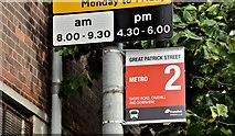 J3474 : Metro bus stop sign (new design), Belfast (September 2019) by Albert Bridge