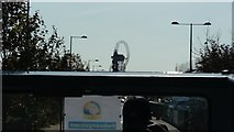 TQ3784 : View of the Arcelor-Mittal Orbit from an open-top bus in the Olympic Park by Robert Lamb