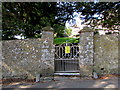 ST0167 : Entrance gate to St Giles churchyard, Gileston by Jaggery