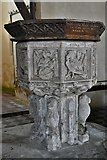 TM1582 : Shimpling, St. George's Church: The font 3 by Michael Garlick