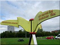 NS5566 : Millennium Milepost MP153, Glasgow Riverside Museum by David Dixon