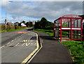 SN4324 : TrawsCymru bus stop and shelter alongside the A485, Peniel, Carmarthenshire by Jaggery