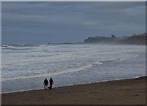 NZ8612 : Dog walkers on the beach at Sandsend by Neil Theasby