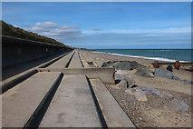 TG4029 : Sea wall towards Cart Gap by Hugh Venables