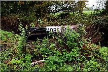 H5064 : Damaged road sign, Moylagh by Kenneth  Allen