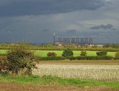 SK7676 : View over fields to Cottam power station by Neil Theasby