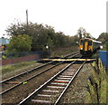 SJ2963 : Wrexham Central train approaching Buckley station from the north by Jaggery