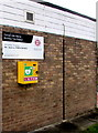 SJ2863 : Yellow box on the wall of Buckley Fire Station by Jaggery