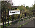 SO4383 : Craven Arms railway station name sign by Jaggery
