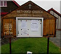 SO4382 : Methodist Church information board, Craven Arms by Jaggery