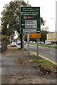 ST1580 : Dark green directions sign alongside the A470, Cardiff by Jaggery