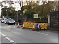 ST3090 : Yellow barriers around a hole in Pillmawr Road, Malpas, Newport by Jaggery