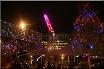 TQ1985 : View of the Wembley Stadium arch and illuminated trees at Wembley Winterfest by Robert Lamb