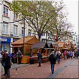 SP0686 : German Market stalls in New Street, Birmingham by Roger  Kidd