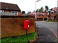 SO4593 : Queen Elizabeth II postbox on a Church Stretton corner by Jaggery