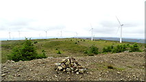 G9020 : Cairn at Seltannasaggart, Co Leitrim & Black Banks Wind Farm by Colin Park