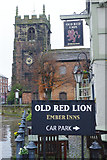 SJ7667 : The Old Red Lion and St Luke's Church, Holmes Chapel by Stephen McKay