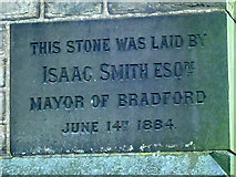 SE1735 : Former Baptist chapel, Undercliffe Road, Eccleshill - datestone by Stephen Craven