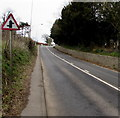 SS8578 : Warning sign - staggered minor crossroads, Tythegston by Jaggery