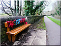 SE1322 : Memorial seat decorated for Christmas, Brighouse by Humphrey Bolton