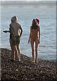 TQ2804 : Festive Dippers, Hove Beach by Simon Carey