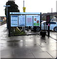 SO8405 : Information boards on platform 2, Stroud station by Jaggery