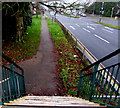 ST3091 : Steep steps down from a Malpas Road footbridge, Newport by Jaggery