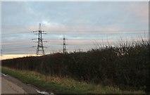 ST9068 : Pylons by Wick Lane near Lacock by David Howard