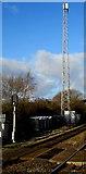 SS7597 : Telecoms mast beyond Neath railway station by Jaggery