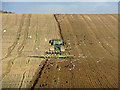 TL4855 : Limekiln Hill: birds and the plough by John Sutton