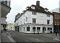 TL3212 : Pargetting over shops, Fore Street and Market Street, Hertford by Humphrey Bolton