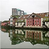 TM1643 : Ipswich: reflections in St Peter's Dock by John Sutton