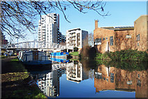 TQ1883 : Reflections in the canal near Wembley by Des Blenkinsopp
