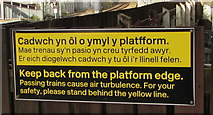 SS7597 : Yellow and black notice facing platform 2, Neath station by Jaggery