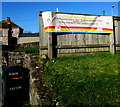 ST4888 : Crossway Nursery information banner, Sandy Lane, Caldicot by Jaggery