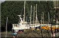 SW9872 : Trawler in boatyard, Wadebridge by Derek Harper