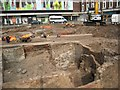 SO8554 : Archaeological dig in Cathedral roundabout by Philip Halling