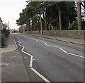 ST1396 : Zigzag white markings on the B4254 Church Road, Gelligaer by Jaggery