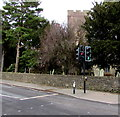 ST1396 : Traffic lights and church tower, Gelligaer by Jaggery