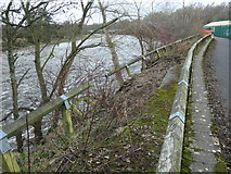 NY7063 : Collapsed and abandoned riverbank path, Haltwhistle by Christine Johnstone
