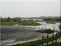 SO5074 : Flood at Linney Riverside Park (Ludlow) by Fabian Musto