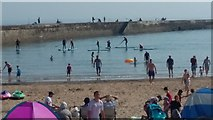 NZ4349 : Paddle Boarding at Seaham Harbour by Les Hull