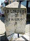 SW7834 : Old Milestone in Lower Market Street, Penryn by Rosy Hanns