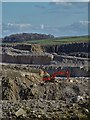 SK0878 : Excavator in Dove Holes Limestone Quarry by Neil Theasby