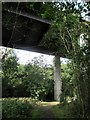NT5831 : The  A68  towering  above  woodland  path by Martin Dawes