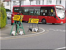 TQ2081 : Conflicting traffic diversions, North Acton by David Hawgood