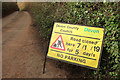 SX8558 : Road closed sign, Coombe House Lane by Derek Harper