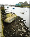 NS3975 : Derelict boat, River Leven by Richard Sutcliffe